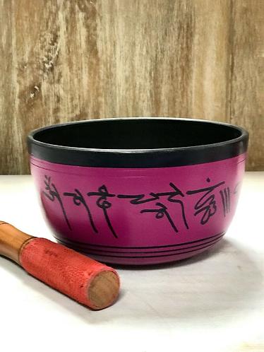 Handmade Pink and Black Tibetan Singing Bowl with Ganesha Handmade for Sabirian