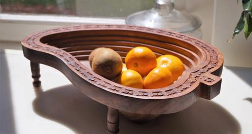 Handmade Collapsible Walnut Wood Bowl Mango Design