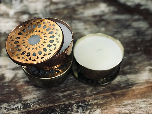 Ornate hand-poured Vegan Soy Blend candle in ornate brass reusable jar