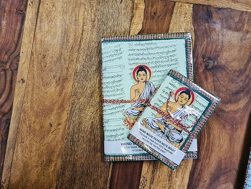 Set of 2 Handmade recycled notebooks with Buddha - Handmade for Sabirian