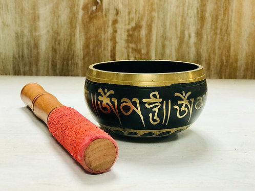 Handmade Black and Gold Tibetan Singing Bowl - Handmade for Sabirian