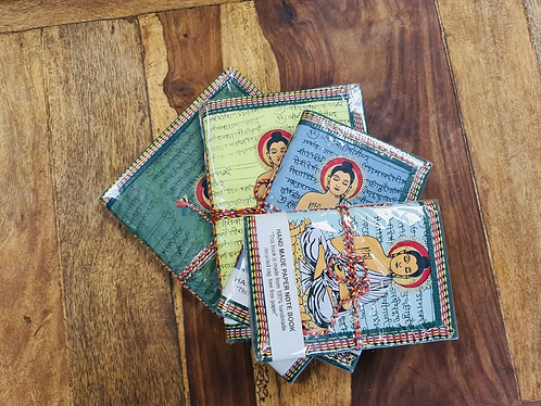 Set of 4 Handmade Pastels recycled notebooks with Buddha - Handmade for Sabirian