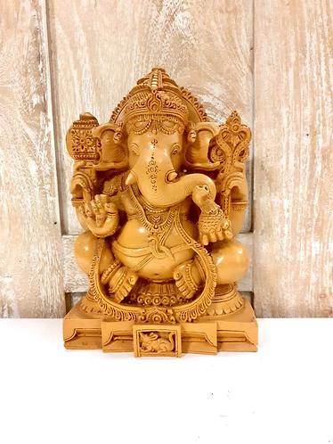 Wood Style Resin Lord Ganesha Statue 6.5��-Handmade For Sabirian