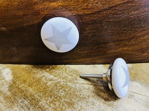 Set of 6 Grey Star Handmade Ceramic painted Door knobs/Draw Pulls - Sabirian