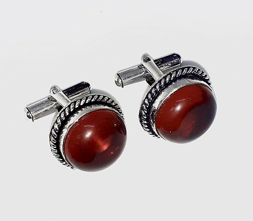 Translucent Red Cufflinks in Gift Box Handmade in India for Sabirian