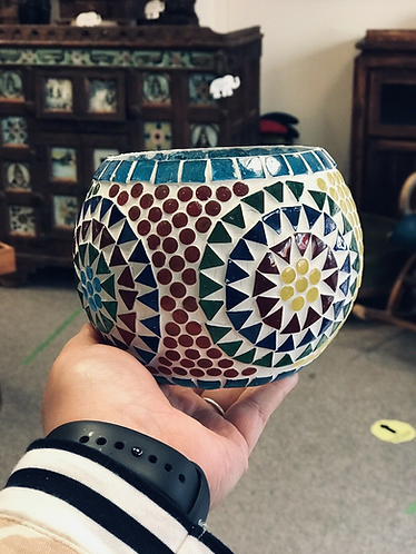 Handmade Mosaic Candle Holder - Made For Sabirian
