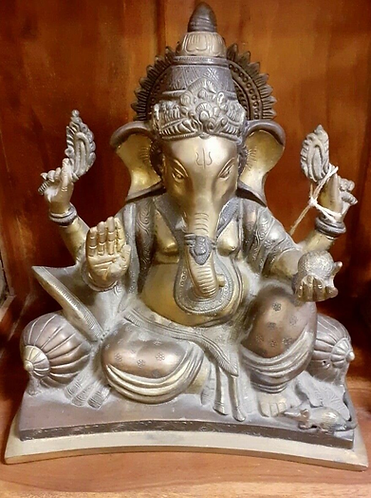 Large Hand moulded Lost-wax Metal Ganesha statue - Sabirian