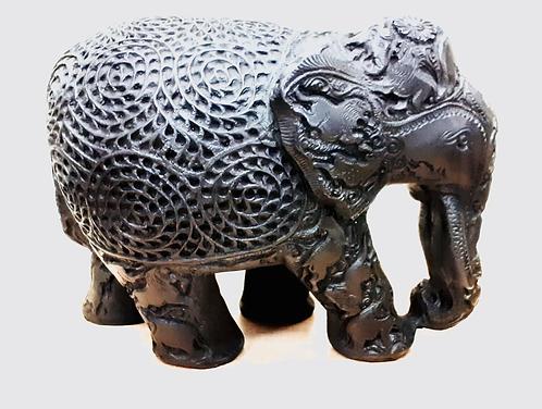 "Hand Made Black Marble Resin Elephant 8"" x 12"" - Made for Sabirian"