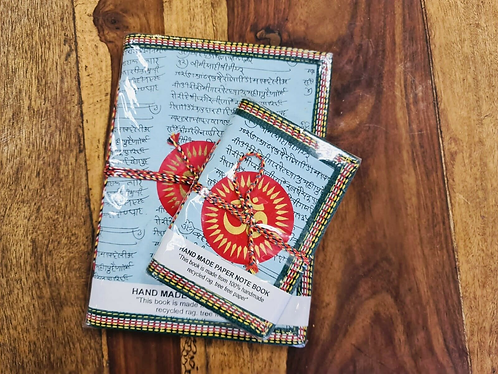 Set of 2 Handmade recycled notebooks with Aum - Handmade for Sabirian