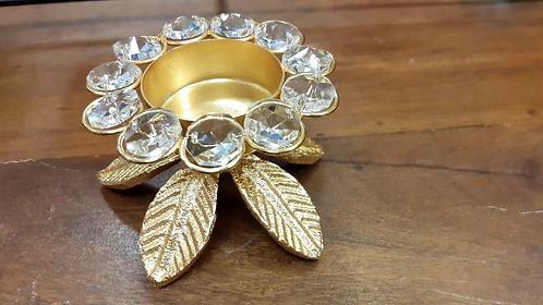 Ornate handmade metal and gem tea light holder