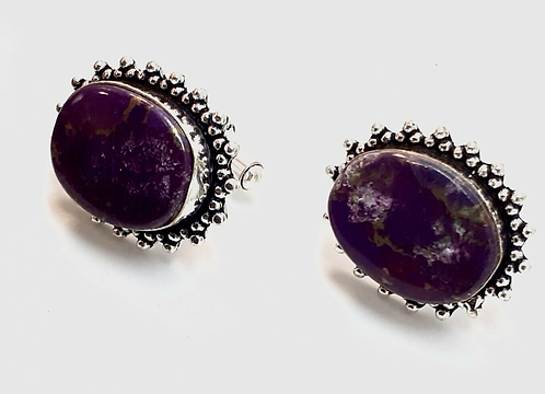 Purple Semi-Precious Stone Cufflinks in Gift Box Handmade in India for Sabirian