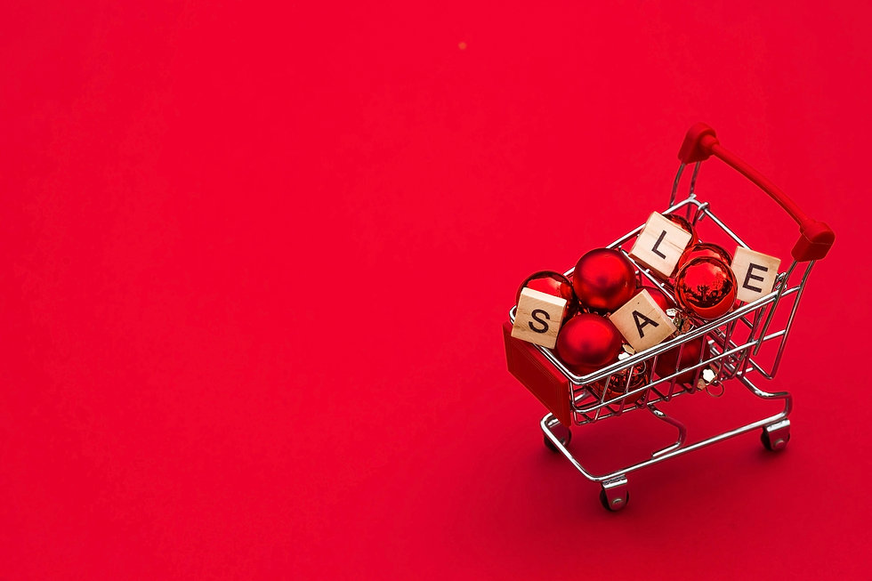Grocery basket with red balloons and let