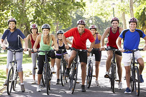 Group Of Cyclists On Cycle Ride Through