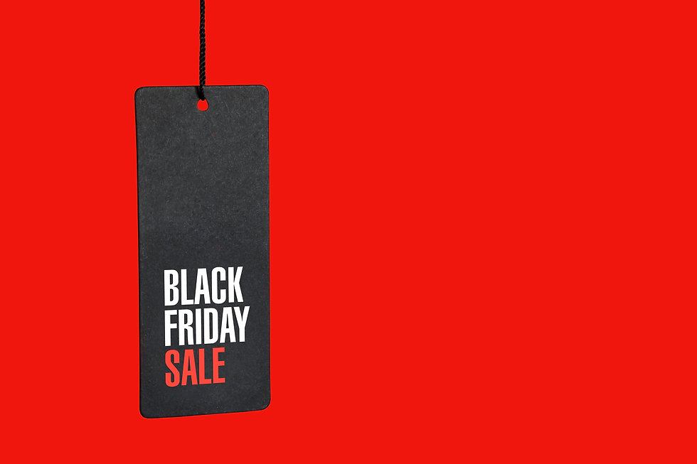 Black friday. Sale tag on the red backgr