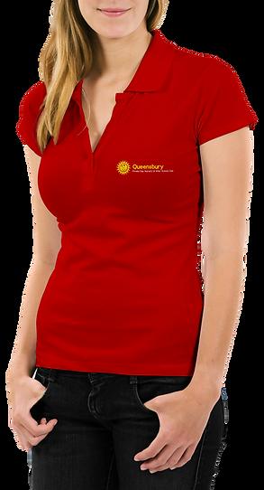 Free Woman With Polo T-Shirt Mockup PSD