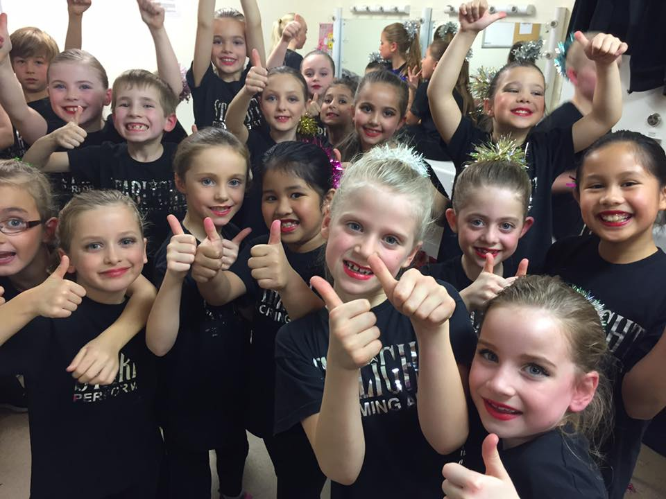 Reigate School of Ballet & Commercial Dance backstage at the Dorking Halls, ready to perform with the Show Choir