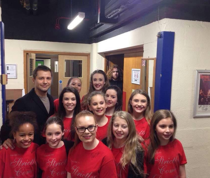 Pasha with our older dance pupils, after performance in Harlquin Theatre, Redhill.