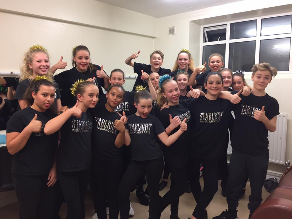 A pose from some of our Starlight Performing Arts pupils backstage at Dorking Halls