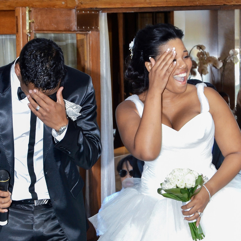 Beautiful and shocking surprise as the groom pulls out the microphone to serenade his bride with a song at the Winchester Mansions Wedding Venue, in Sea Point Cape Town