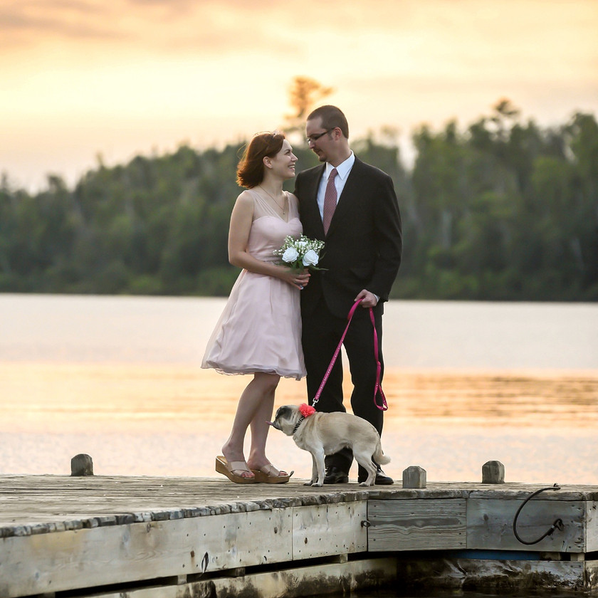 Bride and Groom holding dog on leash