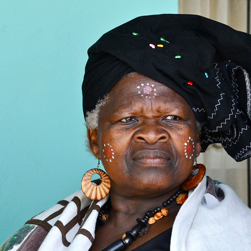 Woman in head dress at Traditional Xhosa Wedding in Port Elizabeth South Africa