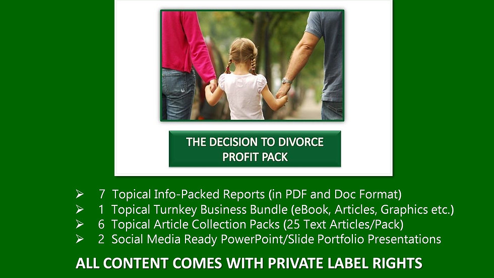 The Decision To Divorce Private Label Profit Pack