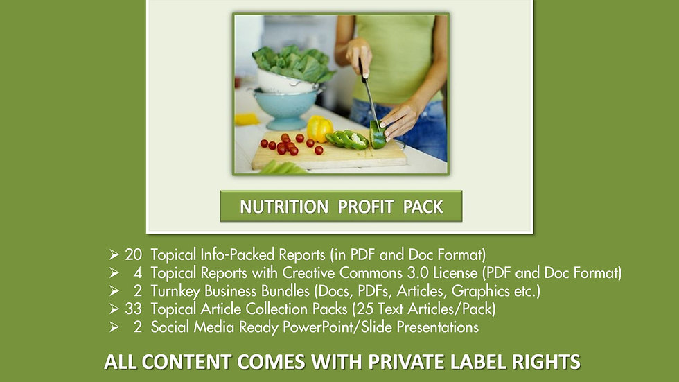 Nutrition Facts Private Label Profit Pack