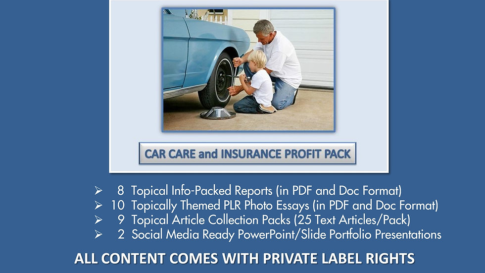 Car Care and Insurance Private Label Profit Pack