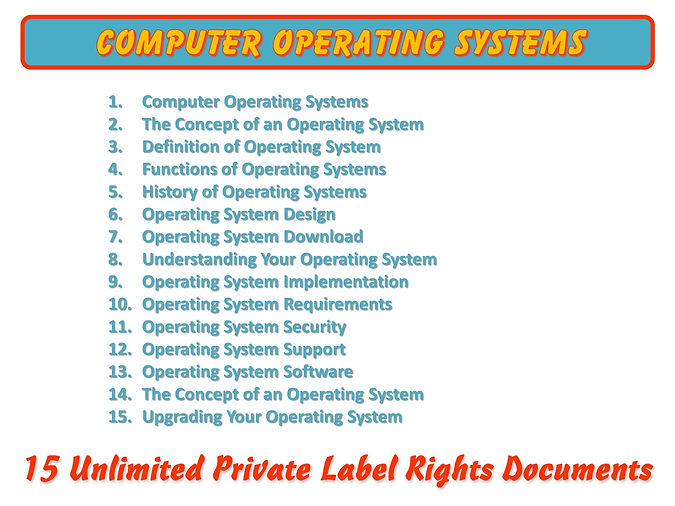 Computer Operating Systems PLR Content
