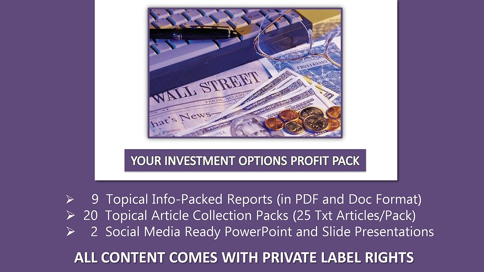 Your Investment Options Private Label Profit Pack