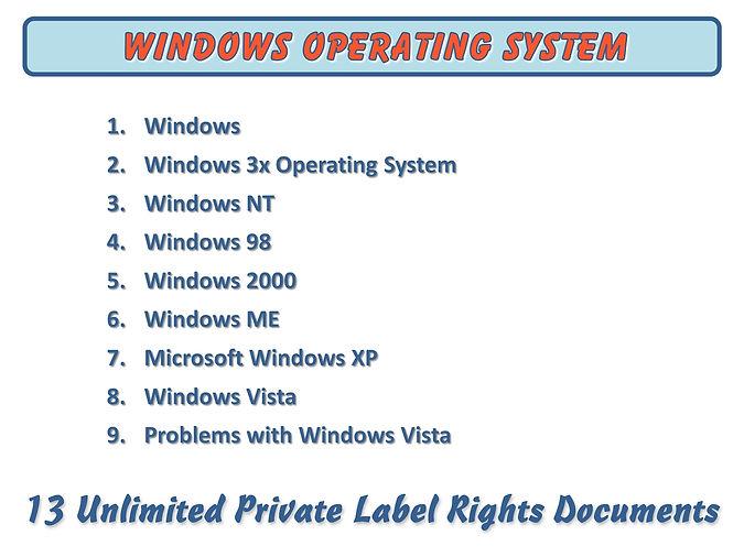 Windows Operating System PLR Content