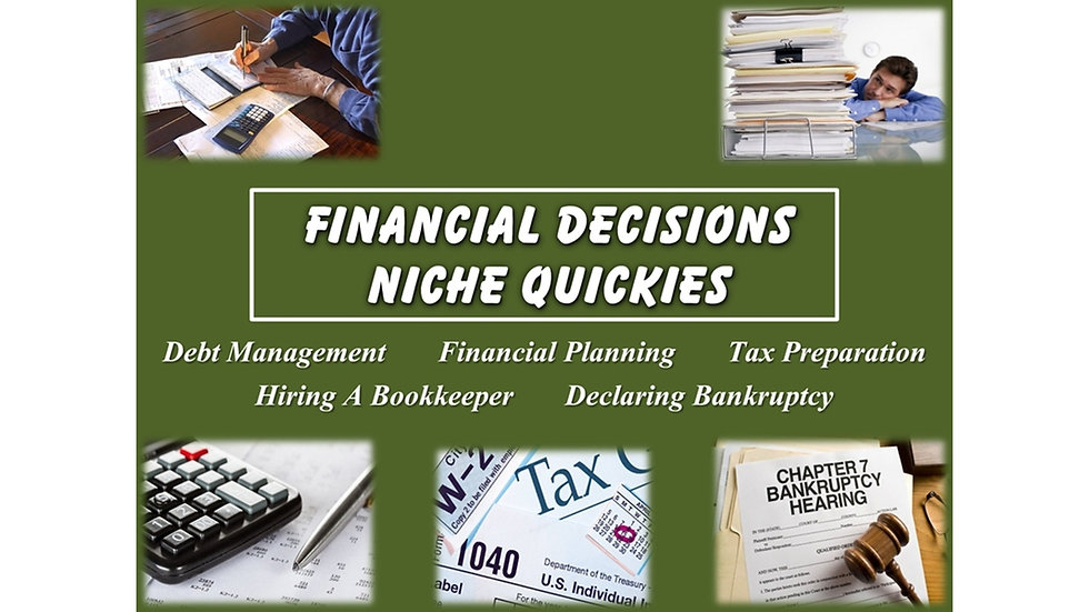 Financial Decisions Niche Quickies