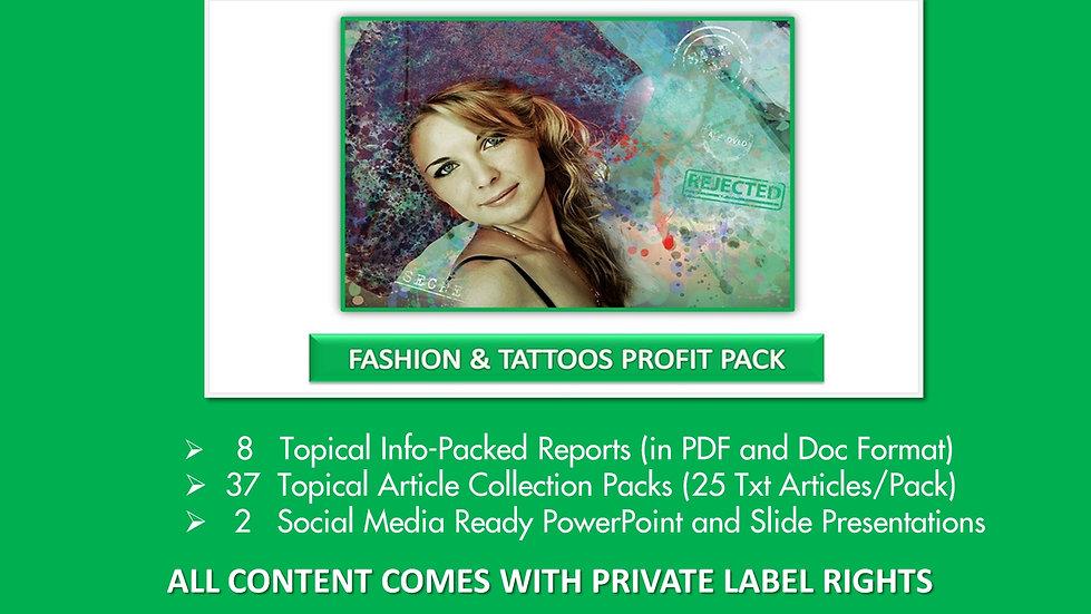 Fashion and Tattoos Private Label Profit Pack
