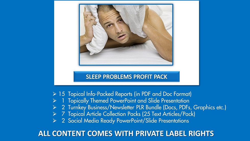 Sleep Problems Private Label Profit Pack