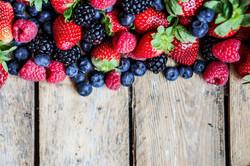 Rustic fruits, strawberries, blueberries