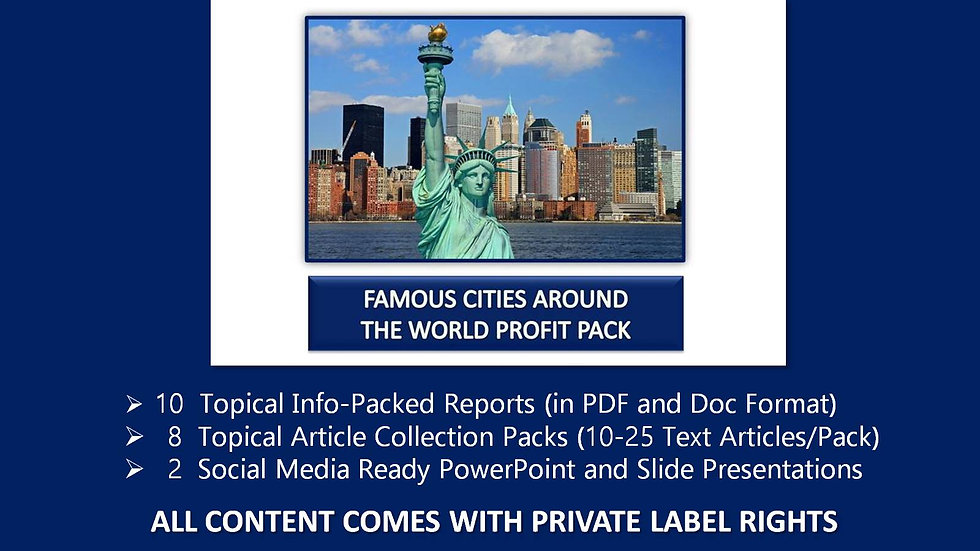 Famous World Cities Private Label Profit Pack
