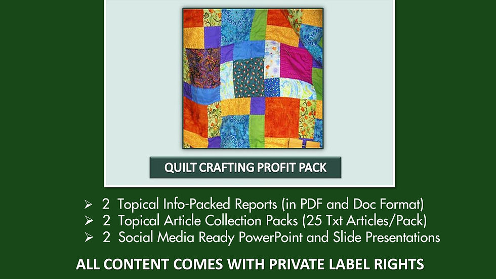 Quilt Crafting Private Label Profit Pack