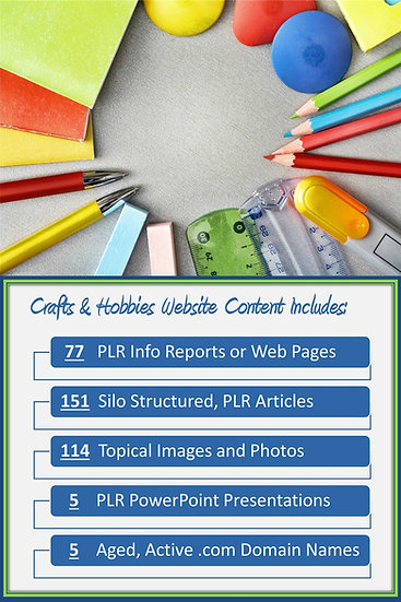 Crafts and Hobbies Turnkey Content Sites