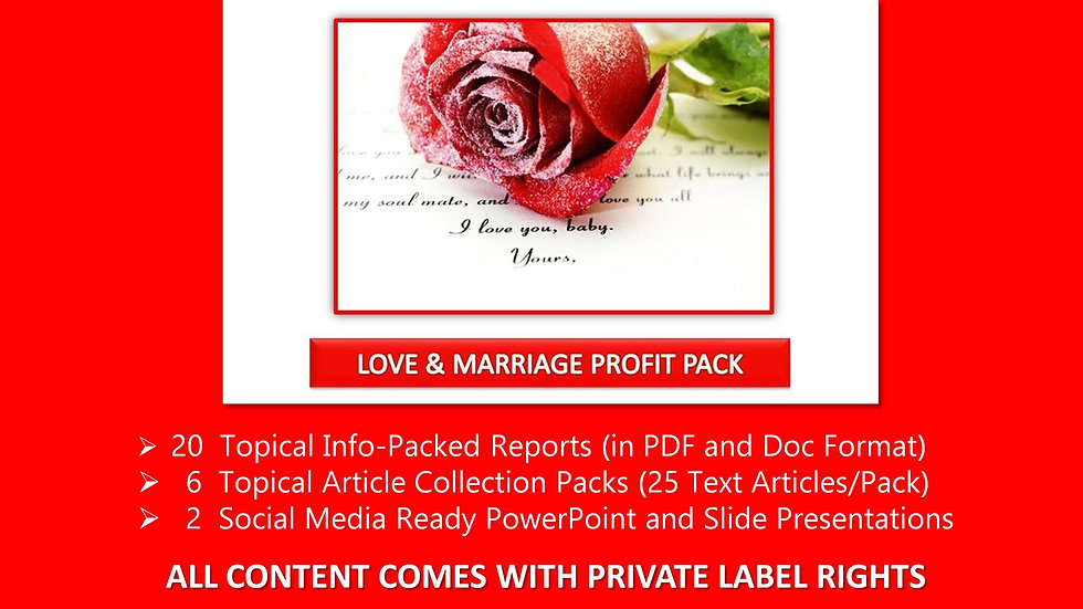 Love and Marriage Private Label Profit Pack