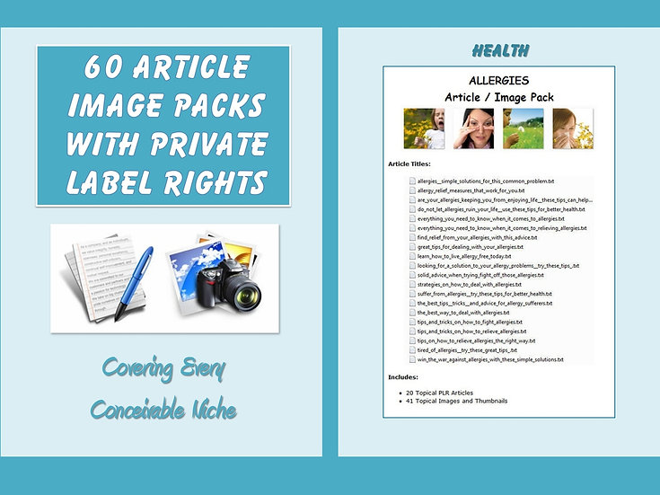 60 Article Image Packs with Private Label Rights
