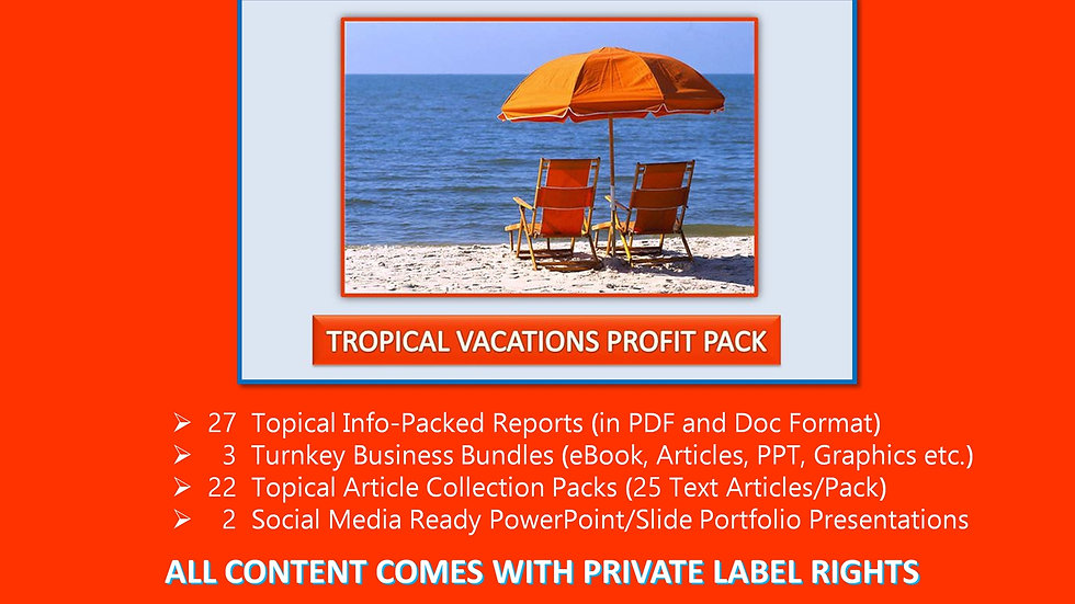 Tropical Vacations Private Label Profit Pack