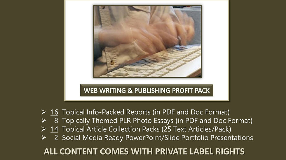 Web Writing and Publishing Private Label Profit Pack