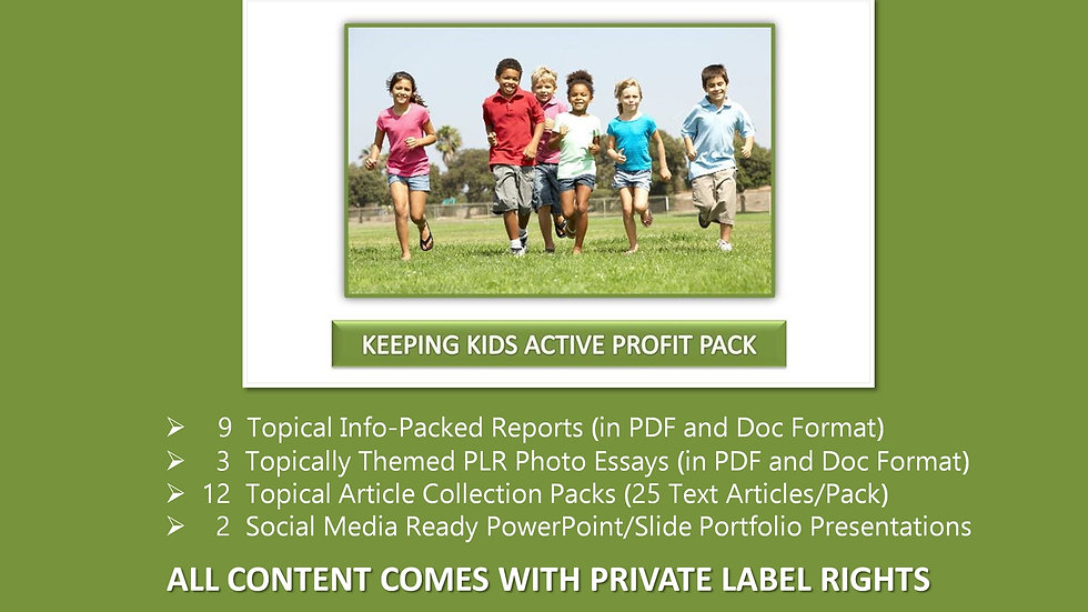 Keeping Kids Active Private Label Profit Pack