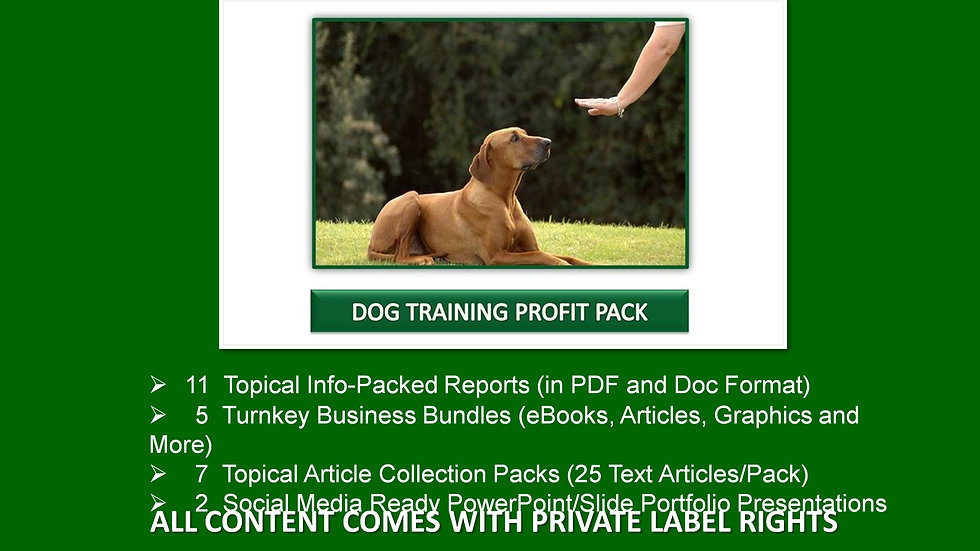 Dog Training Private Label Profit Pack