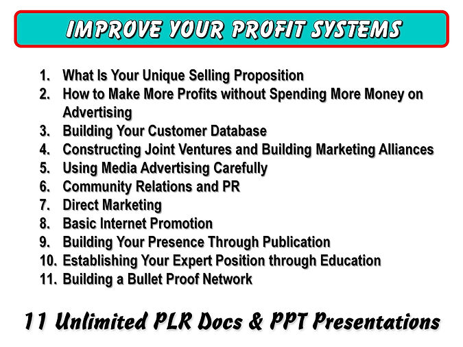 Improve Your Profit Systems