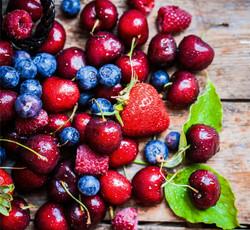 Rustic fruits, cherries