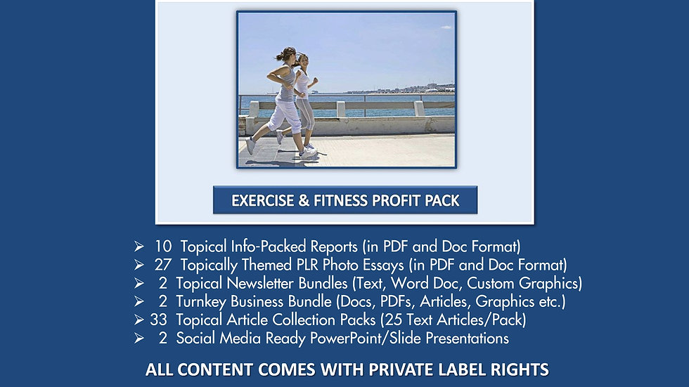 Exercise and Fitness Private Label Profit Pack