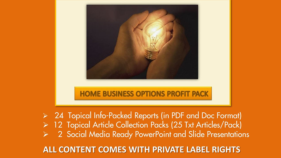 Home Business Options Private Label Profit Pack