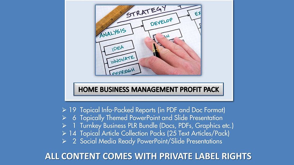Home Business Management Private Label Profit Pack