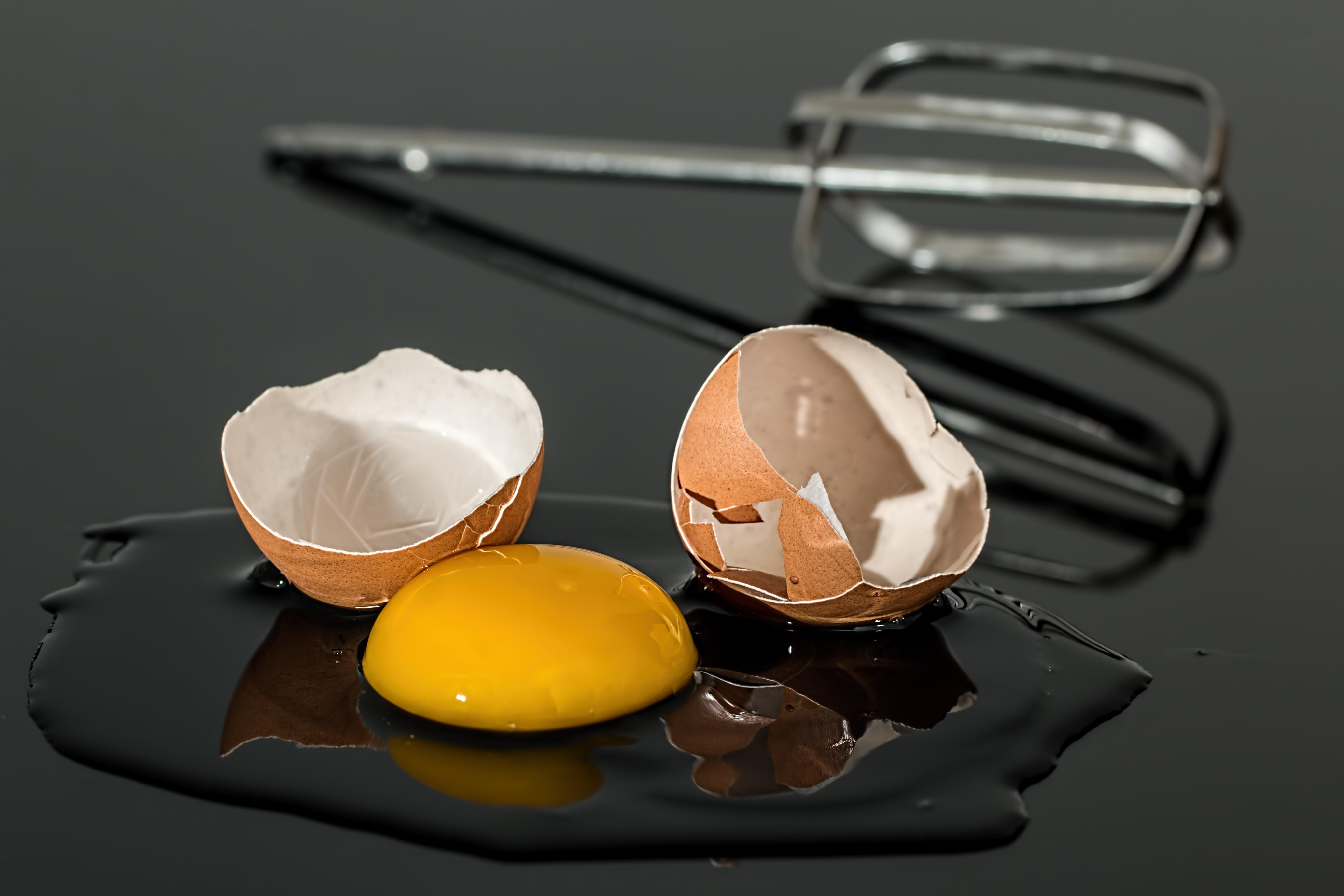 cracked egg, fried egg